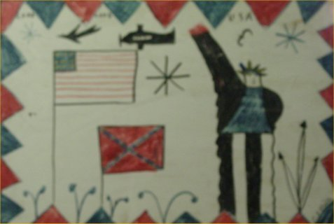 """79: RA Miller- Outsider Art-""""Lord Love You USA"""" Paint o"""