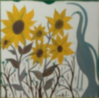 """81: Mose Tolliver-Outsider Art-""""Sunflowers"""" Paint on wo"""