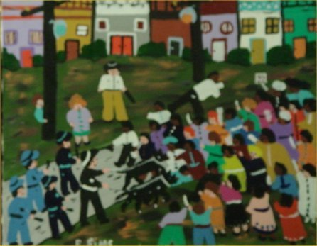 """82: Bernice Sims-Outsider Art-""""Untitled"""" Paint on canv"""