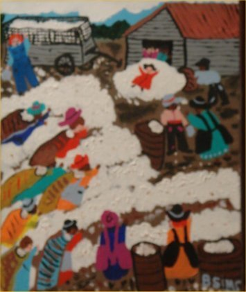 """83: Bernice Sims-Outsider Art-""""Untitled"""" Paint on canv"""