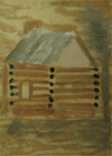 "84: Jimmy Lee Sudduth-Outsider Art-""Log Cabin"" Mud on b"