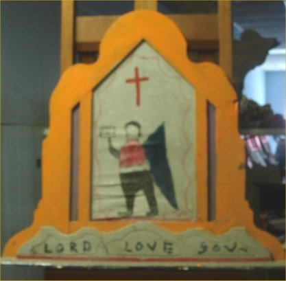 """85: RA Miller-Outsider Art-""""Lord Love You"""" Paint on woo"""
