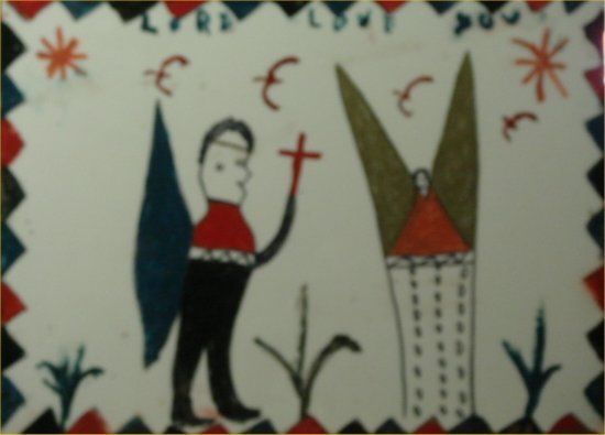 """89: RA Miller-Outsider Art-""""Lord Love You"""" Paint on ple"""