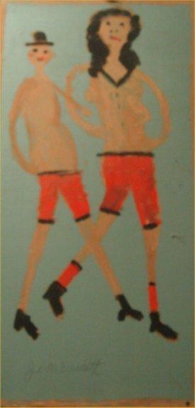 "90: Jimmy Lee Sudduth-Outsider Art-""Couple"" Mud on boar"