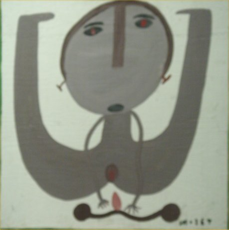 """93: Mose Tolliver-Outsider Art-""""Bicycle Man"""" Mud on boa"""