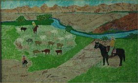 "Tom Terrer-Outsider Art-""Farm"" Acrylic On Poster"
