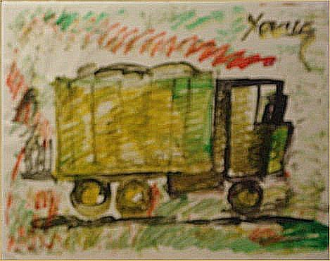"""124: Purvis Young-Outsider Art""""Truck"""" Paint on poster"""
