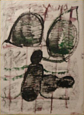 "Purvis Young-Outsider Art-""Untitled"" Paint On Pape"