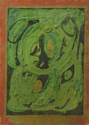"""127: Albert Wagner-Outsider Art-""""Untitled"""" Paint on pap"""