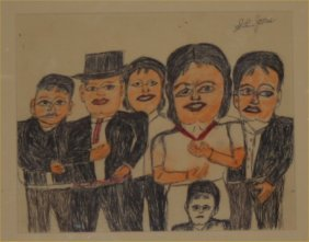 "SL Jones-Outsider Art-""Family"" Pen And Pastel On P"