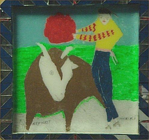 "129: Makiko-Outsider Art-""Key West"" Paint on glass   Di"