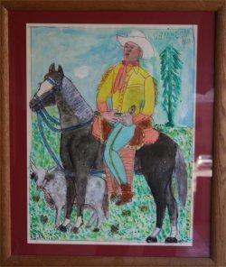 "130: Mc 5 cent Jones-Outsider Art""Cowboy"" Pastel on pap"