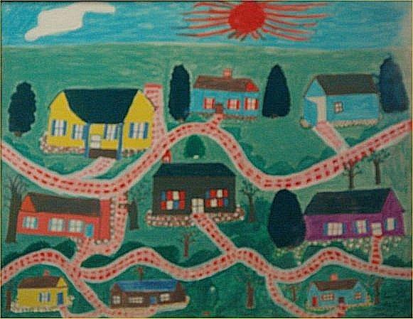 """131: Lucille Smith-Outsider Art-""""Neighborhood"""" Marker o"""