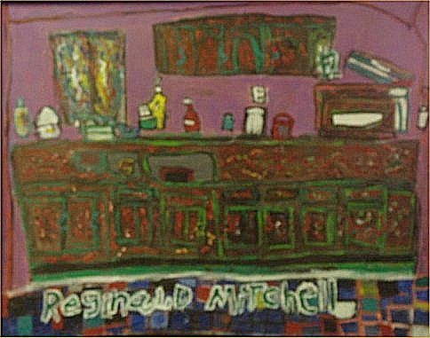 "132: Reginald Mitchedd-Outsider Art-""Bar"" Paint on canv"