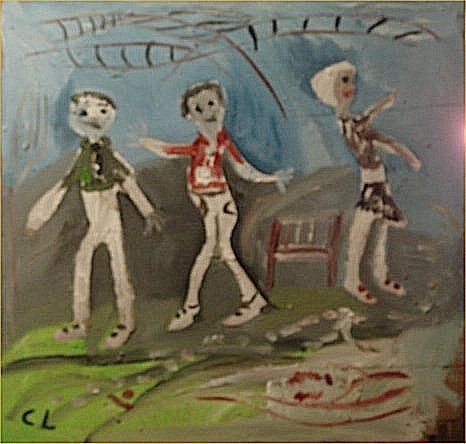 """134: Charlie Lucas-Outsider Art-""""Untitled"""" Paint on pan"""