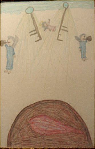 """135: GC Deprie-Outsider Art-""""Untitled"""" Crayon on paper"""
