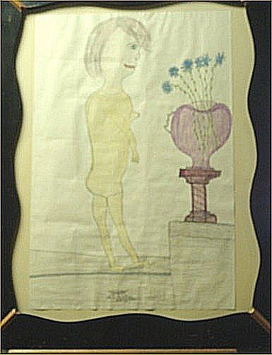 """137: GC Deprie-Outsider Art-""""Nude"""" Crayon on paper, 199"""