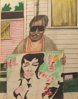 """138: Roy Ferdinand-Outsider Art-""""Elvis"""" Marker on poste"""