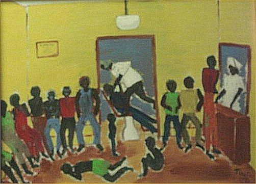 "139: Tino Ferro-Outsider Art-""Drs Office"" Paint on boar"