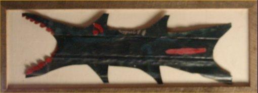 "140: RA Miller-Outsider Art-""Alligator"" Paint on tin an"