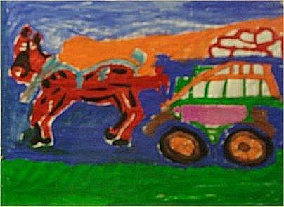 """142: Georgia Speller-Outsider Art-""""Untitled"""" 1984, pain"""