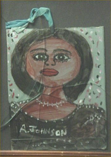 """143: Anderson Johnson-Outsider Art-""""Lady"""" Paint on pape"""