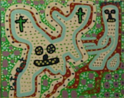"144: Catfish Man-Outsider Art-""Untitled"" Paint on wood"
