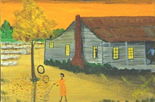 """147: Zelle Manning-Outsider Art-""""House"""" Paint on canvas"""