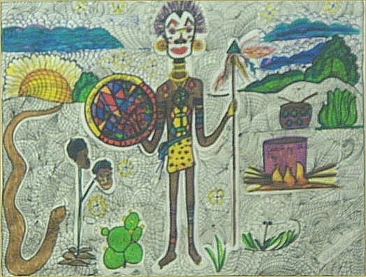 """148: Alpha Andrews-Outsider Art-""""Catch of the Day"""" Pen"""