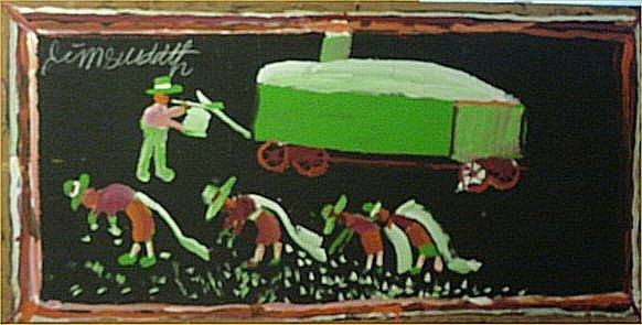 """150: Jimmy Lee Sudduth-Outsider Art-""""Cotton Pickers"""" Pa"""
