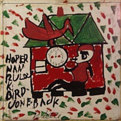 "152: Willie Jinks-Outsider Art-""Red Bird"" Paint on plas"