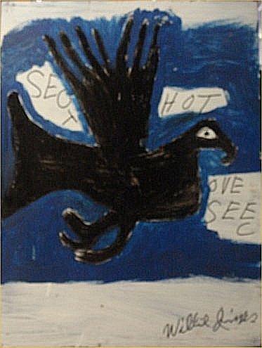 "155: Willie Jinks-Outsider Art-""Bird"" Paint on wood   D"
