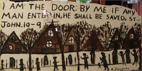"156: Anderson Johnson-Outsider Art-""John 10-9"" Paint on"