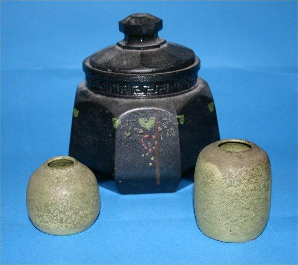"158: Anonymous-Outsider Art-3 pc pottery lot avg 2-6"""