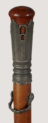 501: Pewter Court Cane- Ca. 1780- A nice pommel handle