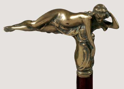 583: Bronze Nude-Ca. 1885-This solid bronze handle whic