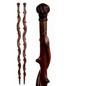 Folk-Art Snake Canne-C. 1875-1925-A Well Carved Sna