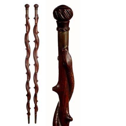 1: Folk-Art Snake Canne-C. 1875-1925-A well carved sna