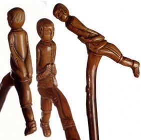 """Folk-Art Man """"Getting His Stride""""-C. 1875-1900-Uniqu"""
