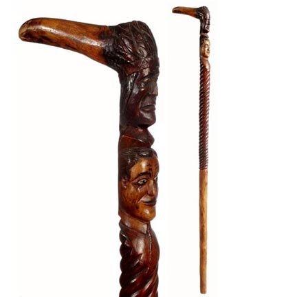 9: Carved Indian Chief & Man-C. 1875-1925-A unique L sh
