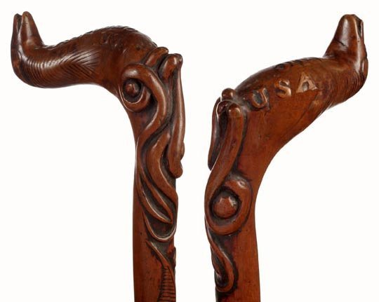 16: Carved Folk Art Army Navy Cane-C.1870-1890-A neat,