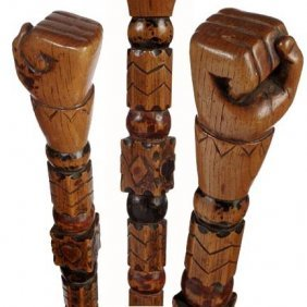 19: Carved Fist Cane-C. 1870-1900-A one piece carved ca