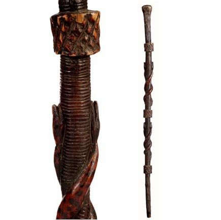 20: Carved 4 Snakes Folk Cane-C. 1875-1900-A carved can