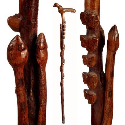 23: Bird Handle & Twin Snake Cane-C. 1875-1910-A great,