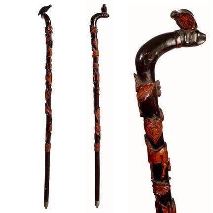 125: Carved Dog & Bird Handled Cane-C. 1900-A most uniq