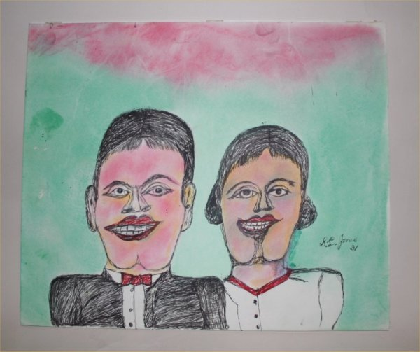 "1013: Outsider Art- SL Jones- ""Couple.  Watercolor and"