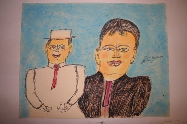 "1014: Outsider Art- SL Jones- ""Two men"" Pastel and pen"