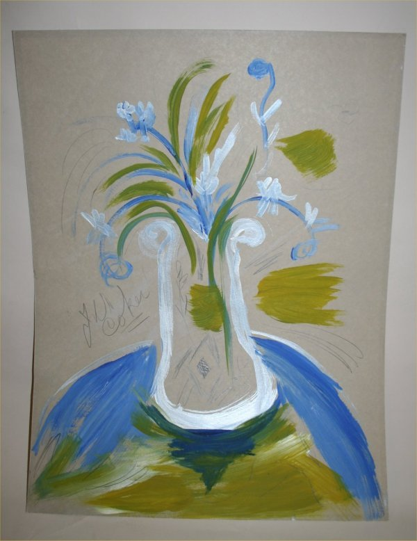 "1020: Outsider Art- Jerry Coker- ""Flowers"" Paint and pe"