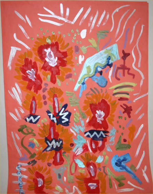 "1021: Outsider Art- Jerry Coker- ""Untitled"" Pain on pap"