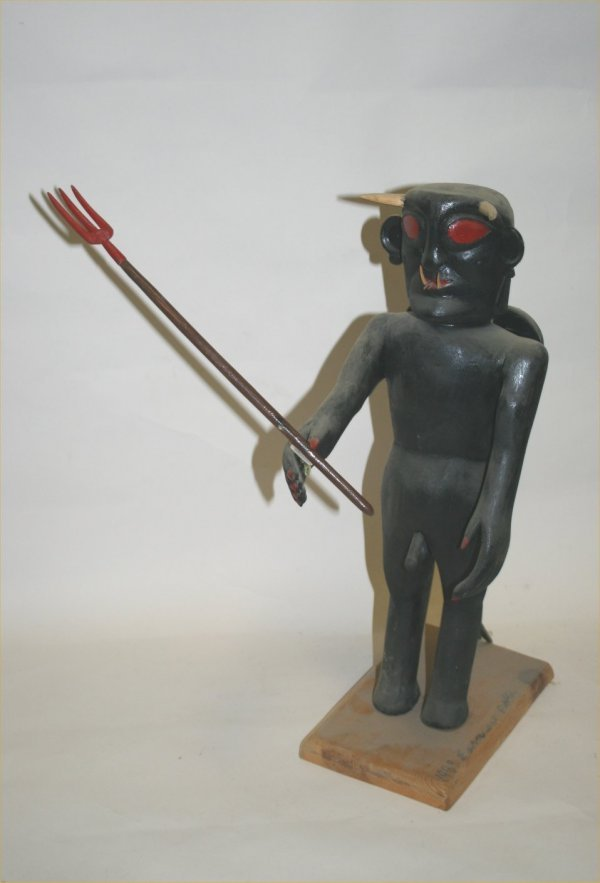 "1073: Outsider Art- Earnest Patton- ""Devil"". Paint on c"